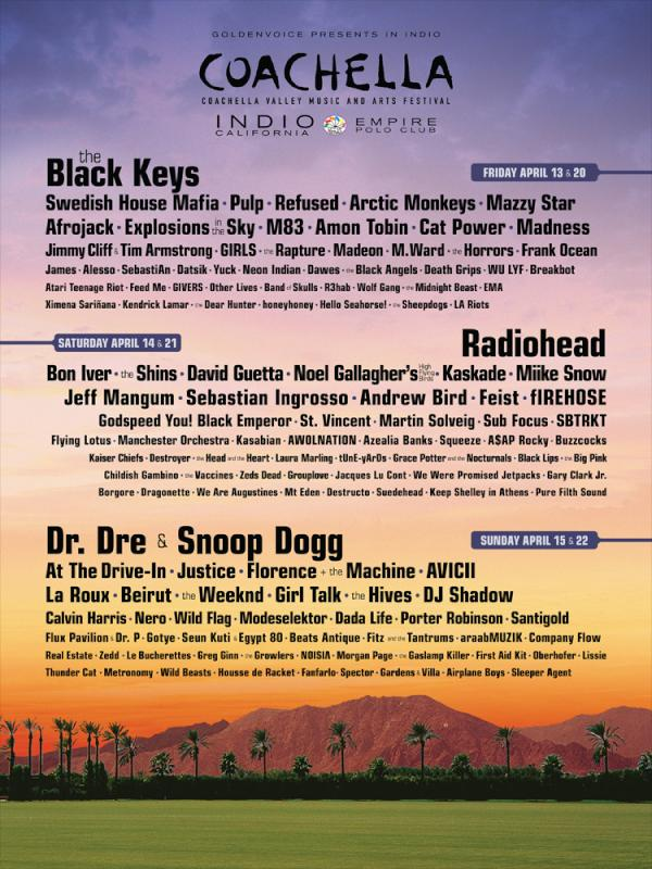 2012 Coachella Festival on April 13 - 15 and April 20 - 22 (Empire Polo Club, Indio)