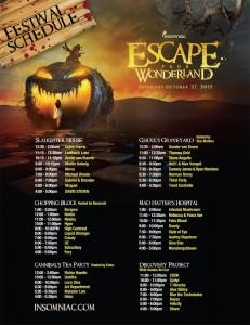 Escape From Wonderland Set Times