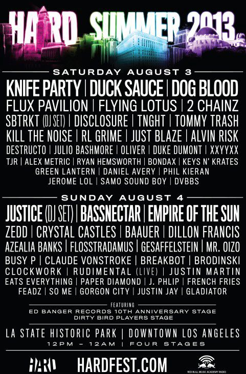 Hard Summer 2013 Lineup