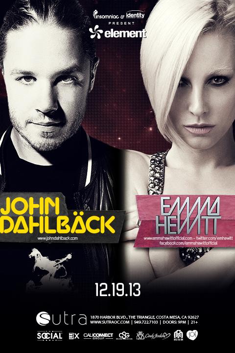 John Dahlback + Emma Hewitt - December 19 (Sutra, Costa Mesa)