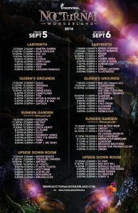 Nocturnal Wonderland 2014 Set Times