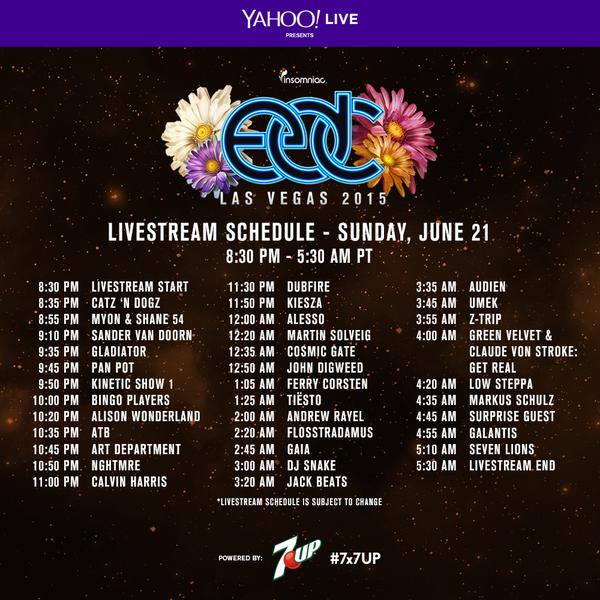 EDC Las Vegas 2015 Live Stream Schedule June 21
