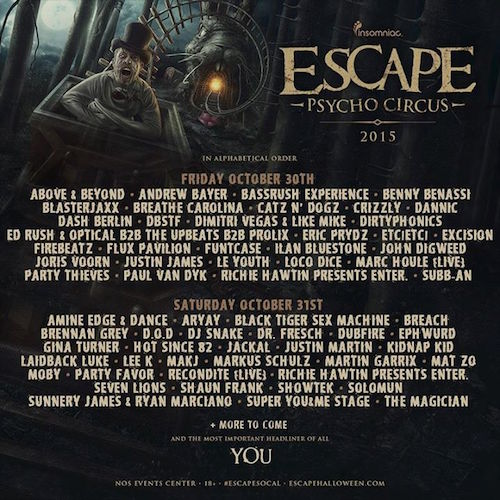 Escape Psycho Circus October 30 31 Nos Events Center San Bernardino