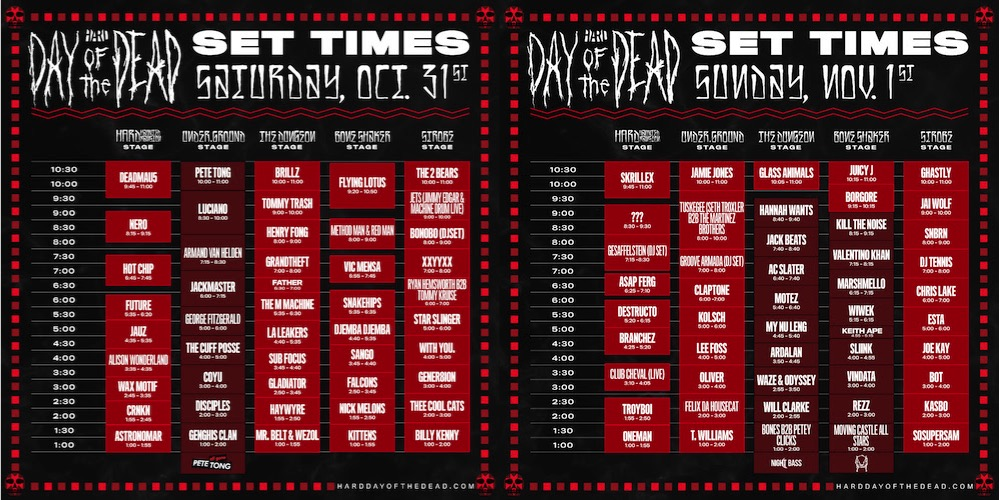 Hard Day of the Dead 2015 Set Times