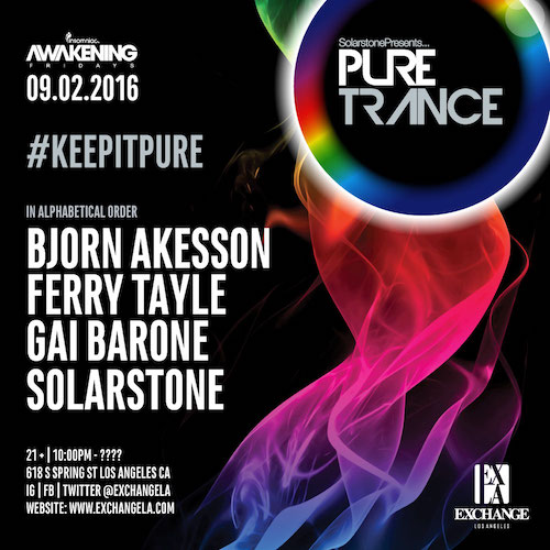 Solarstone presents Pure Trance - September 2 (Exchange, Los Angeles)